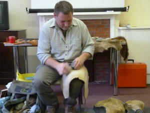 Karl showing the art of  flint knapping